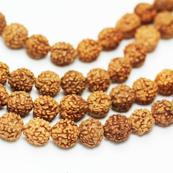 108pcs Natural Rudraksha Seed Mala Prayer Beads Strand, Center drilled Round shape,9-10mm -GEM0999
