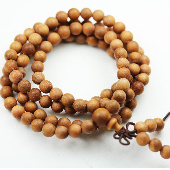 108pcs Natural Sandalwood Mala Prayer Beads Necklace/Bracelet Strand, One full strand,8mm/6mm Round, -GEM1782