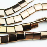 "Hematite,5mm Electroplated Copper Color Square Shape Gemstone beads, double hole 0.6mm,16""-GEM1629"