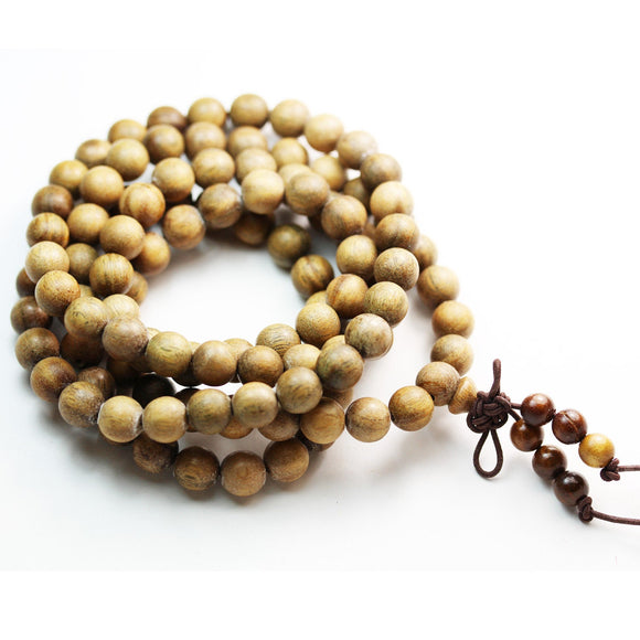 108pcs Natural Green Sandalwood Mala Prayer Beads Necklace/Bracelet Strand, One full strand,8mm Round -GEM2250