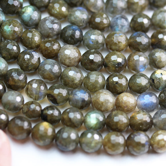 labradorite, 7mm Faceted round  gemstone, One full strand  beads, hole 1mm,16