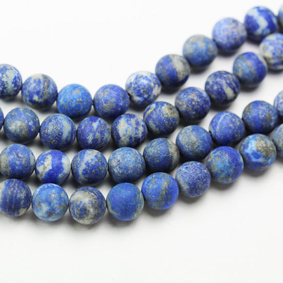 Matte Natual lapis lazuli, 8mm round natural gemstone , One full strand ,Gemstone beads, hole 1mm,16