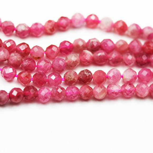 Pink Tourmaline, 4.5mm Natural  Faceted Round Gemstone, One full strand 16inch, about 90beads,hole0.6mm,16