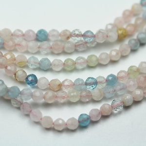 "Beryl Mix, Aquamarine, Heliodor and morganite, 3.5mm Faceted Round Mixed Gemstone ,One full strand, hole0.6mm,16""-GEM1567"