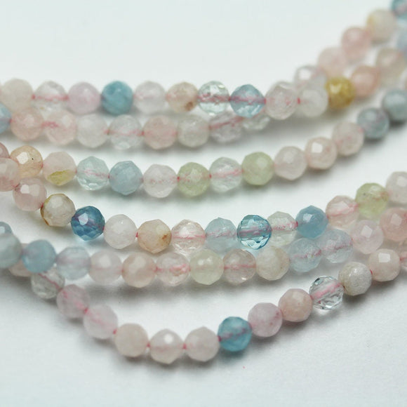 Beryl Mix, Aquamarine, Heliodor and morganite, 3.5mm Faceted Round Mixed Gemstone ,One full strand, hole0.6mm,16