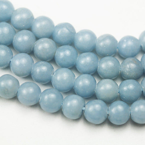 Angelite, 6mm Round Natual Gemstone Beads ,One full strand , 16 inch, about65beads, 0.8mm hole -GEM1590