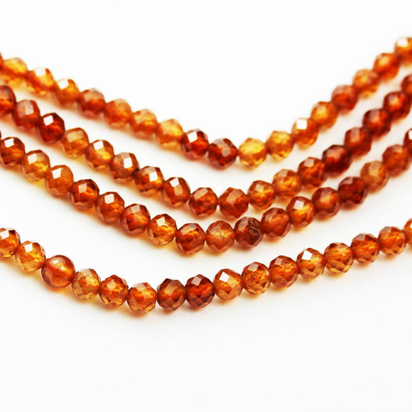 Orange Garnet, 2.5mm Faceted Round Gemstone, One full strand  Gemstone, hole 0.6mm,16