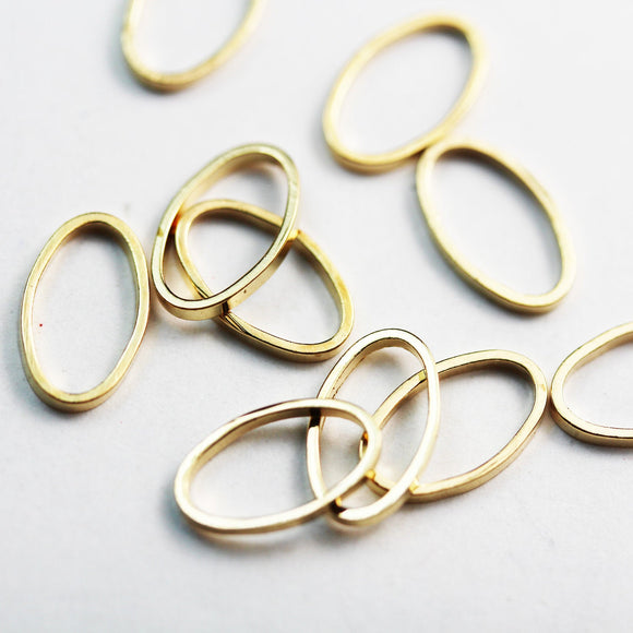 40pcs 13x7mm Closed Oval Ring Jewellery findings,Close & soldered Oval, Gold Plated Brass , 1mm thick - FDR0109