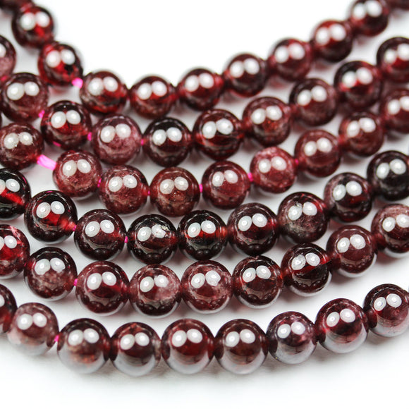 Garnet,6mm Round Gemstone, One full strand , hole0.8mm,16