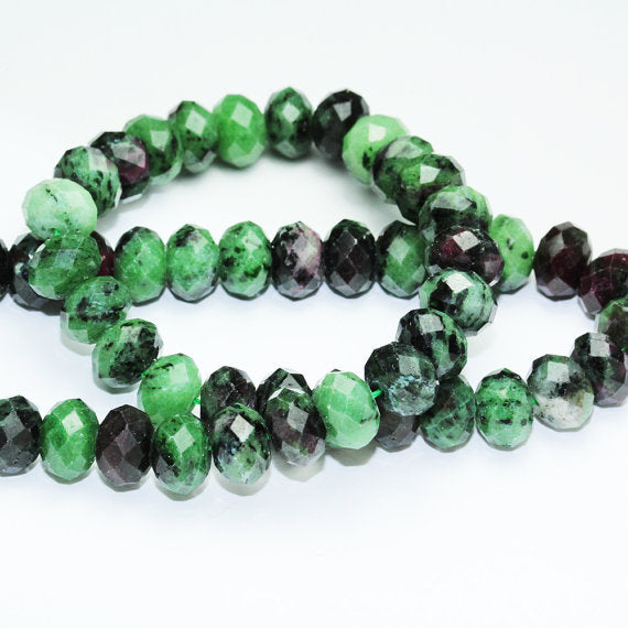 Natural Ruby Zoisite, 8*10 mm  Faceted Rondelle Gemstone, One full strand, hole 1mm,16