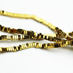 "Hematite,2.3*1mm Electroplated Gold Color Square Disco Shape Gemstone beads, hole 0.6mm,16""-GEM1640"