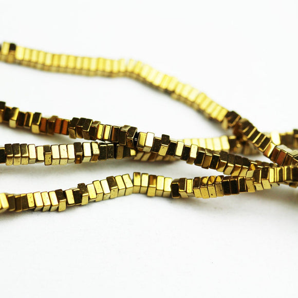 Hematite,2.3*1mm Electroplated Gold Color Square Disco Shape Gemstone beads, hole 0.6mm,16