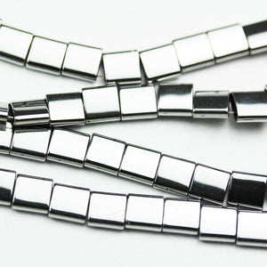 "Hematite,5mm Electroplated Silver Color Square Shape Gemstone beads, double hole 0.6mm,16""-GEM1626"