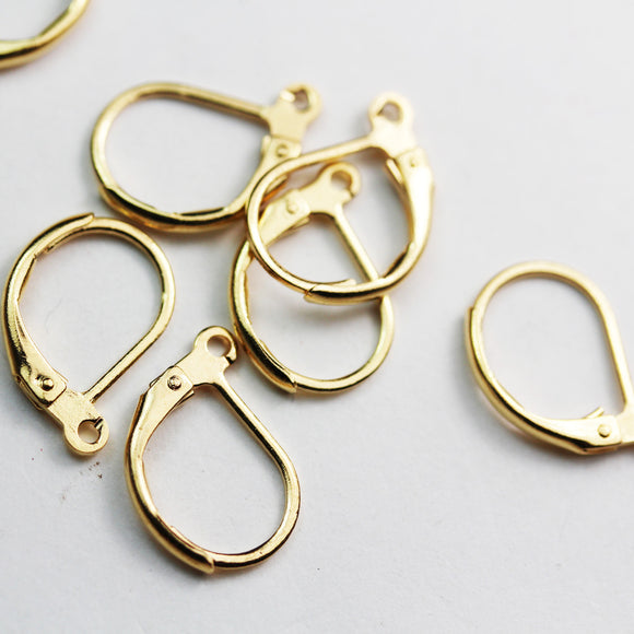16pcs Leverback Earwire Gold Plated brass Jewellery Findings , 16mm Leverback with open loop-FDE0210