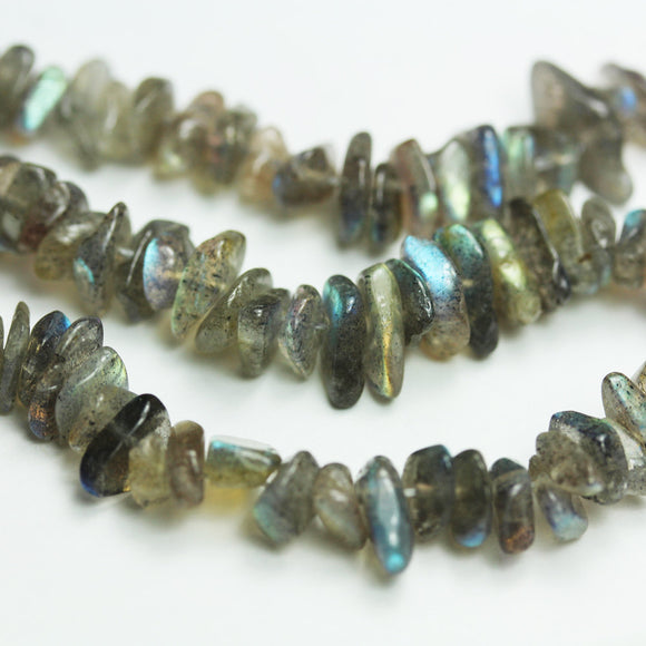 Labradorite,  8mm gemstone chips beads, One full strand hole 1mm,16