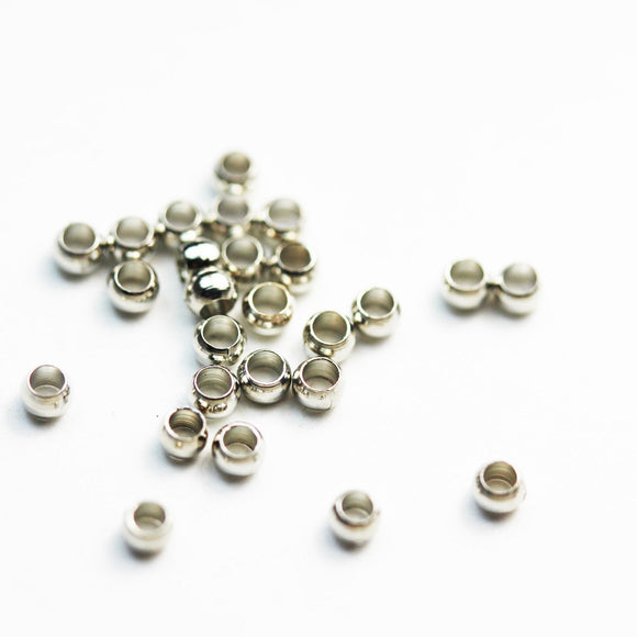 400pcs 2*1.5mm Rhodium Color Crimp Beads Jewellery Findings, Rhodium-plated brass, 1mm inside diameter -FDBC0247