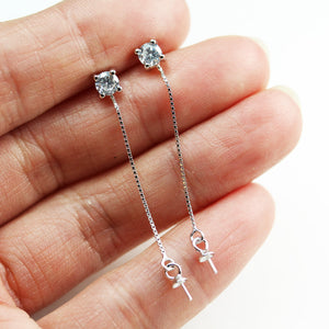 2pcs 925 Sterling silver,4mm Cubic Zirconia Ear Post with Long Chain Earwire,40mm Chain with 3mm bead caps for half drilled beads-FDSSE00156