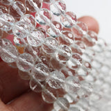 "Clear Quartz, 8mm Faceted Round Gemstone,One full strand,  hole 1mm,16"", 50 beads-GEM2358"