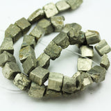Pyrite,  10-11mm Cube Bead Natural Gemstone, One full Strand,  hole1mm -GEM1895