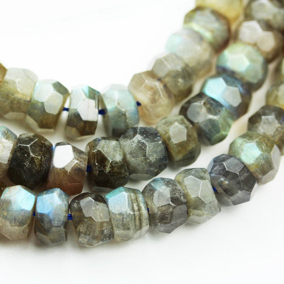 Labradorite, 9*6mm Faceted rondelle  gemstone, One full strand , hole 1mm,16