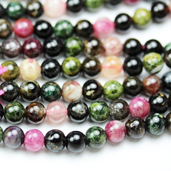 Tourmaline, 6mm round Colorful Gemstone Beads, One Full strand, 16