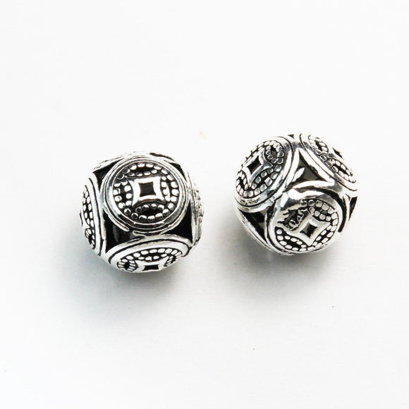2pcs 9mm Antiqued 925 Sterling Silver Jewellery findings Filigree Ball Beads, 9mm, hole1mm - FDSSB0435