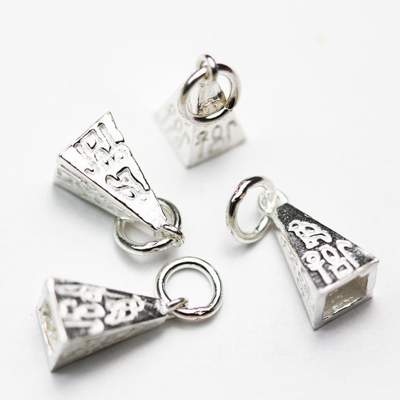 2pcs 925 sterling silver Jewelry Findings Bead cap,Cone, 11*6mm cap with loop,6mm Square ,3.5mm inside -FDSSCE0266