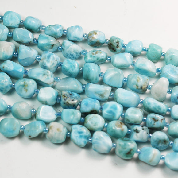 Natural Larimar, 10*11mm One full strand Nugget Shape Gemstone Beads Strand, 1mm hole, 16inch -GEM2391