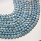 Aquamarine,12mm Round Natural Gemstone Beads , 16 inch , 1mm hole, about33 beads -GEM2399