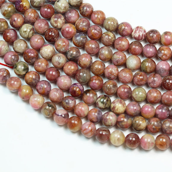 Pink Tourmaline, 8mm Pink Round Gemstone Strand, 15.5 inch , about 50 beads , 1mm hole-GEM2437