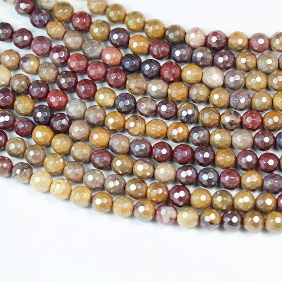 Mookaite Jasper, 6mm Faceted Round, AB coated, Mystic Coated Gemstone Strand, hole 1mm,15.5 inch,about 50beads -GEM2452