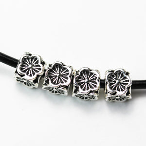 4pcs 6mm Big hole 925 Antique Sterling Silver Jewellery findings Flower Cube Beads, 6mm cube, hole3 mm - FDSSS0431