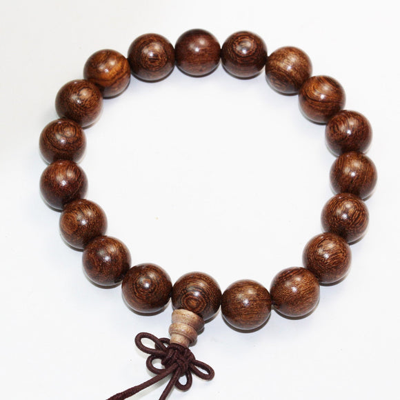 Natural Wenge Wood Mala Prayer Bracelet Strand, 15mm/10mm Round -WD0001