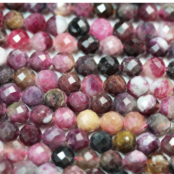 Tourmaline, 5.8mm Faceted round Gemstone Beads ,  Full strand Colorful, 16