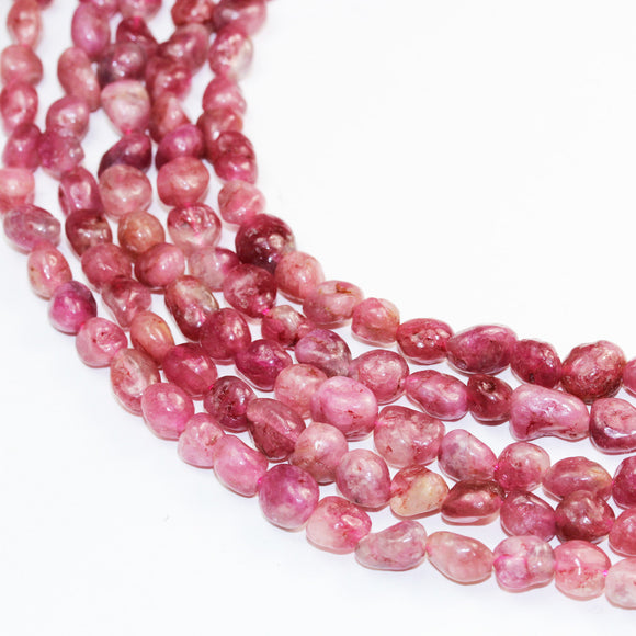 Pink Tourmaline ,7*7mm Nugget ,One Full strand Natural Nugget Shape Gemstone Beads,16
