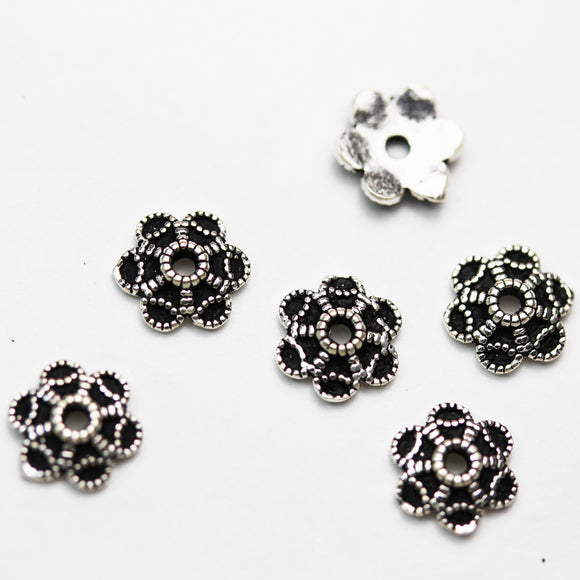 10pcs 8mm 925 antiqued Sterling silver,Oxidized Sterling Silver Jewelry Findings Bead cap, 2mm Height  cap -FDSSC0264