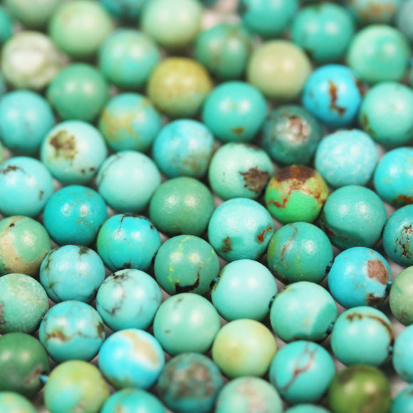 Natural Turquoise, 4mm Round  Gemstone Strand, 15.5inch, 0.6mm hole , Green &Brown color -GEM2418