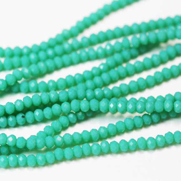 One strand 3.5*2.5mm Crystal Glass,Jewelry Beads,Faceted rondelle,Green Opal  ,about 150 beads,Hole0.6mm, 14.5