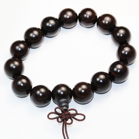 15mm Natural Black Sandalwood Mala Prayer Beads Bracelet Strand, 15mm Round, 9inch -WD0002