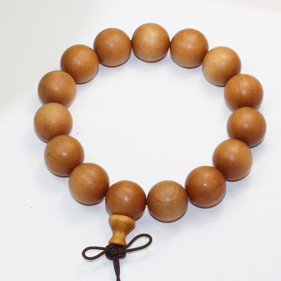 Natural SandalWood Mala Prayer Bracelet Strand, 15mm/12mm Round -WD0004