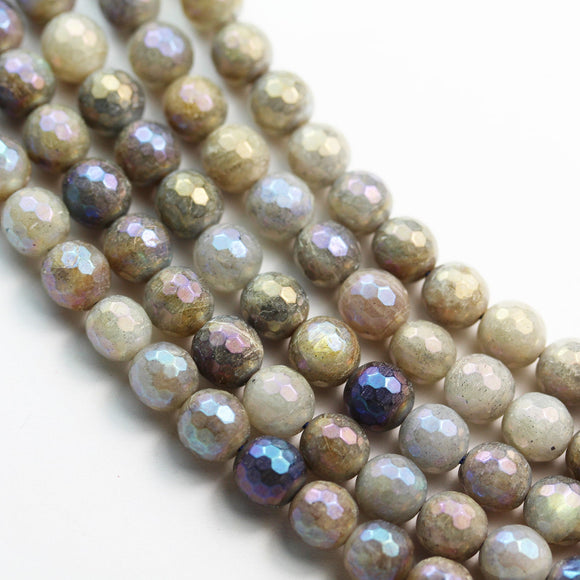 Natural labradorite, 6/8/10mm Faceted round  gemstone,AB coated, Mystic Coated beads, 16