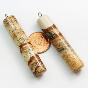 1pc 12*55mm Tube Picture Jasper Gemstone Pendant with Silver plated Loop  - GEMPD0042
