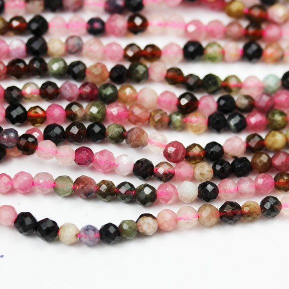 Tourmaline, 3.5mm Faceted round Gemstone Beads ,  Full strand Colorful, 16