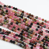 "Tourmaline, 3.5mm Faceted round Gemstone Beads ,  Full strand Colorful, 16"", 0.6mm hole-GEM2572"