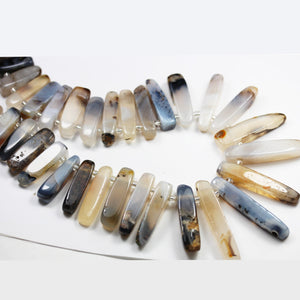 Natural Agate, 23-45*10mm Graduated Stick Gemstone Beads,1.5mm hole, about38pcs-GEM2580