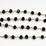 1foot Black Color Crystal Glass Wire Wrapped Beaded Chain,Non Tarnish Brass Rosary Style Chain -WC0393