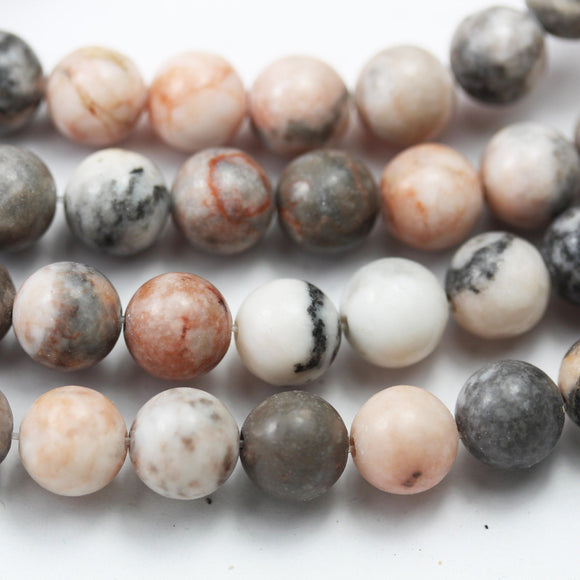 Pink Zebra Jasper,6/8mm Round Black, Pink and White Gemstone Beads,One full strand  15.5inch, about 50 beads-GEM2607