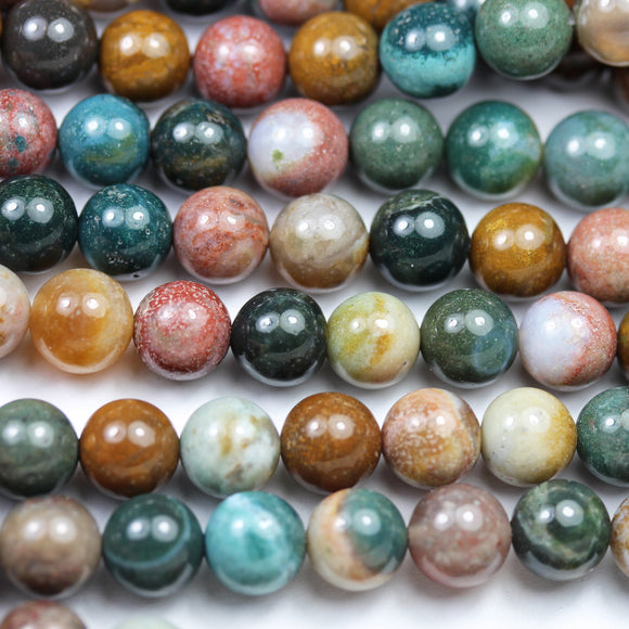 Indian Agate, 6/8mm Round Agate Gemstone Beads Strand, 16inch, hole 1mm, about 60/50beads -GEM2618