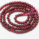 "Garnet, 3mm Round Gemstone, One full strand  Gemstone, hole 0.6mm,16""-GEM2502"