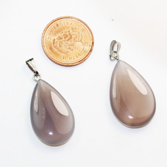 4pcs 12*22mm Grey Agate Treadrop Natural Gemstone Pendant/Charm ,Silver Plated Bail Pendant- GEMPD0036